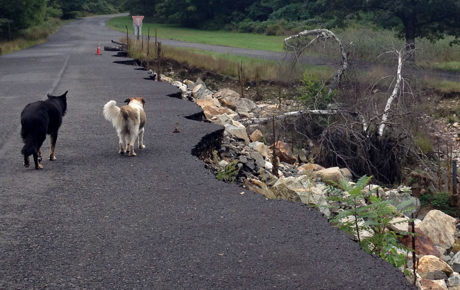 A damaged roadway near Lake Sebago Beach in Harriman State Park NY.