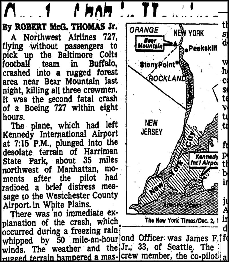New York Times article from 1974 reporting death of three in plane crash, Harriman State Park NY