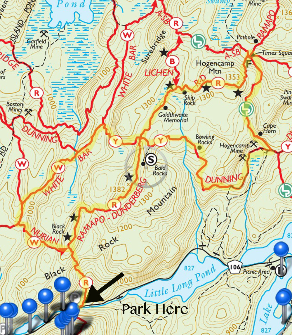 Trail map for the Ramapo Dunderberg trail over Hogencamp Mountain, in Harriman State Park New York.