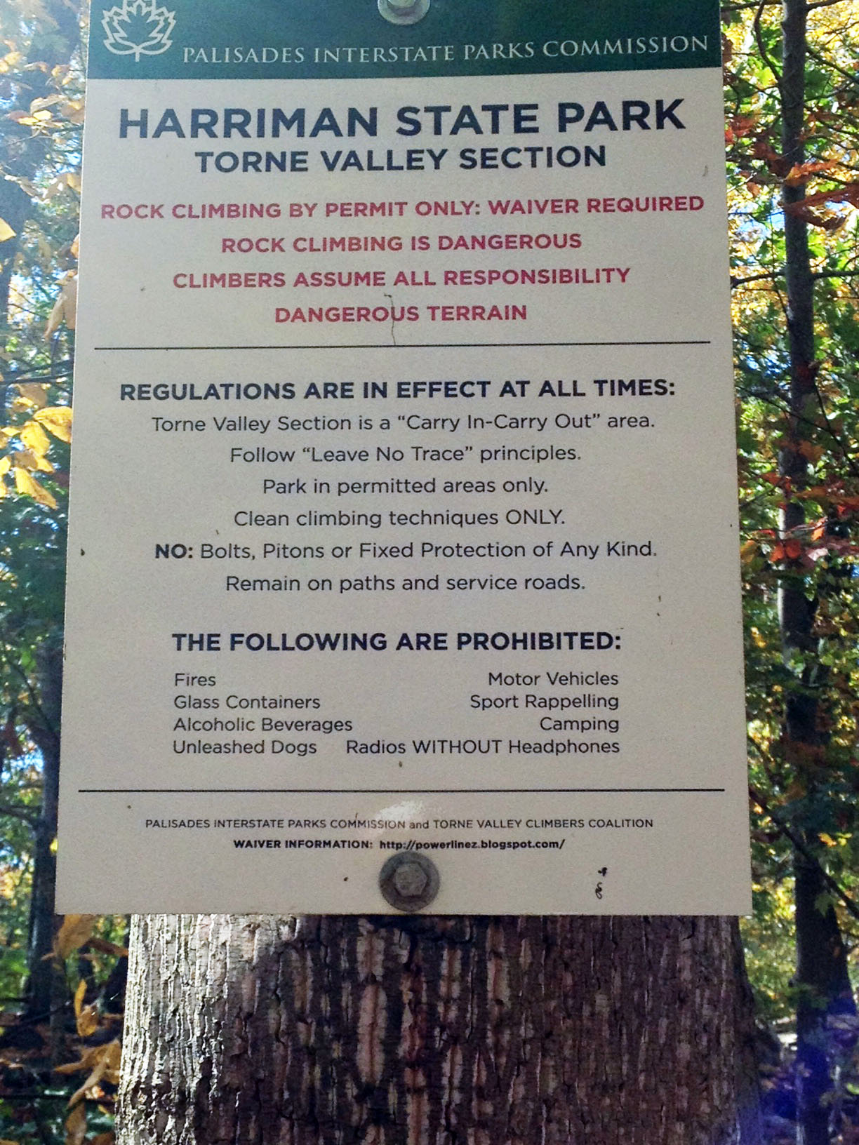 Sign describing the rules for using Harriman State Park's newly-opened Powerlinez Climbing area, in the Torne Valley section of the park.