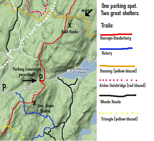 Map showing location of Bald Rock and Tom Jones shelters, in Harriman State Park, and their parking lot for overnight parking.