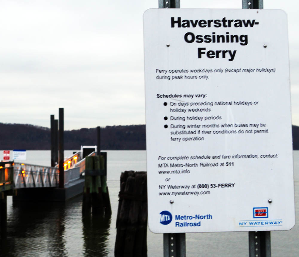 Sign near the dock to New York Waterways' Haverstraw-Ossining ferry, near the Ossining train station on the Hudson River line of the Metro-North.