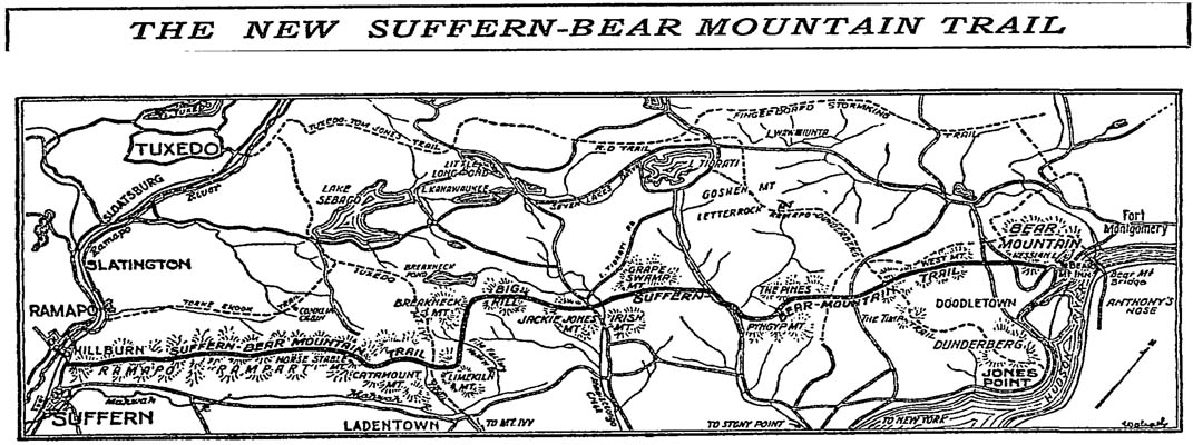 A black-and-white trail map of the Suffern-Bear Mountain Trail, from a 1927 New York Times article describing the newly-opened trail in Harriman State Park, New York.