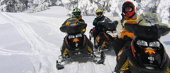 Snowmobiling at Harriman State Park New York.