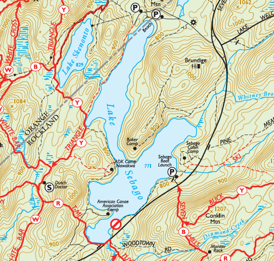 A map of Lake Sebago, showing the location of Baker Camp, in Harriman State Park, New York.