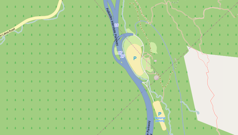 The Anthony Wayne Parking Area, off exit 17 on the Palisades Parkway.  Map © OpenStreetMap contributors