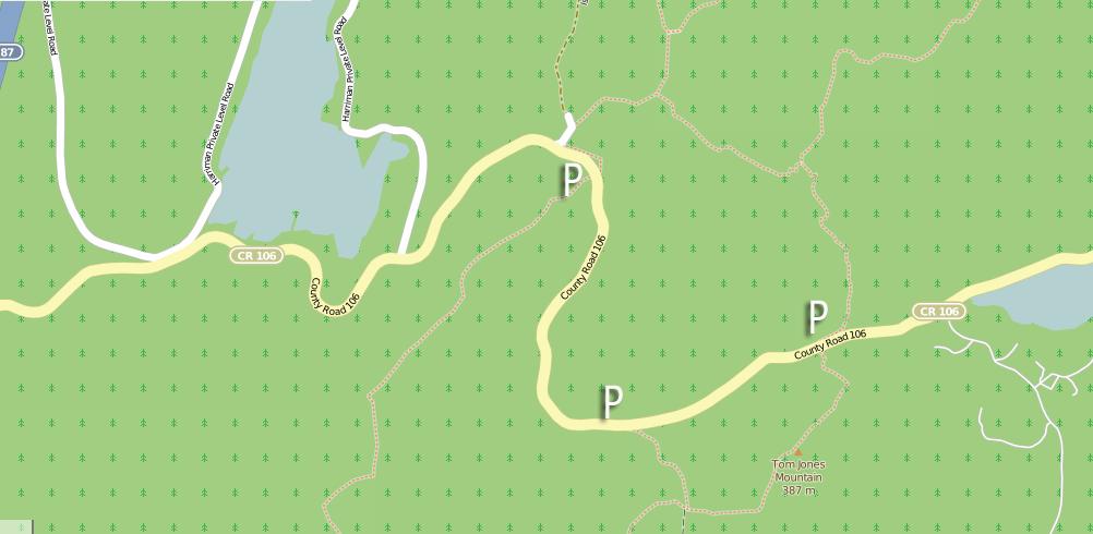 Three Black Rock Mountain parking areas, with access to shelters, views and features along one of the Ramapo-Dunderberg Trail's most picturesque stretches, and Lakes Skenonto and Sebago.  Map © OpenStreetMap contributors