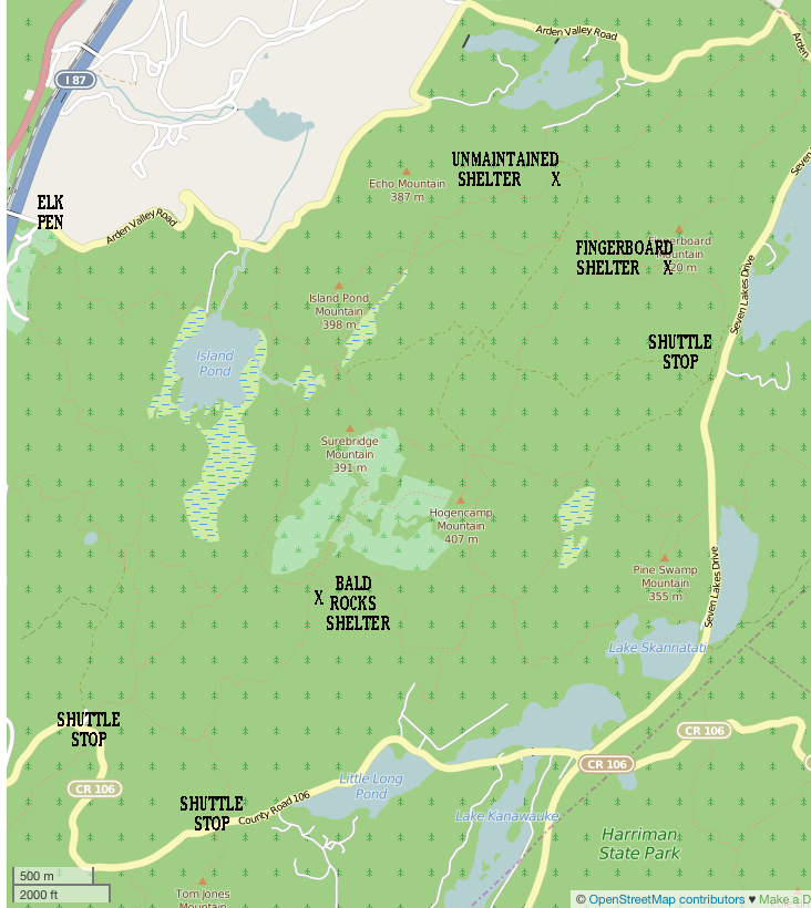 This area of Harriman -- just to the north and east of Tuxedo -- is a superb overnight destination, with a number of lean-to shelters you can stay in without making reservations or paying.  Do make sure you have the map set from the Trail Conference!