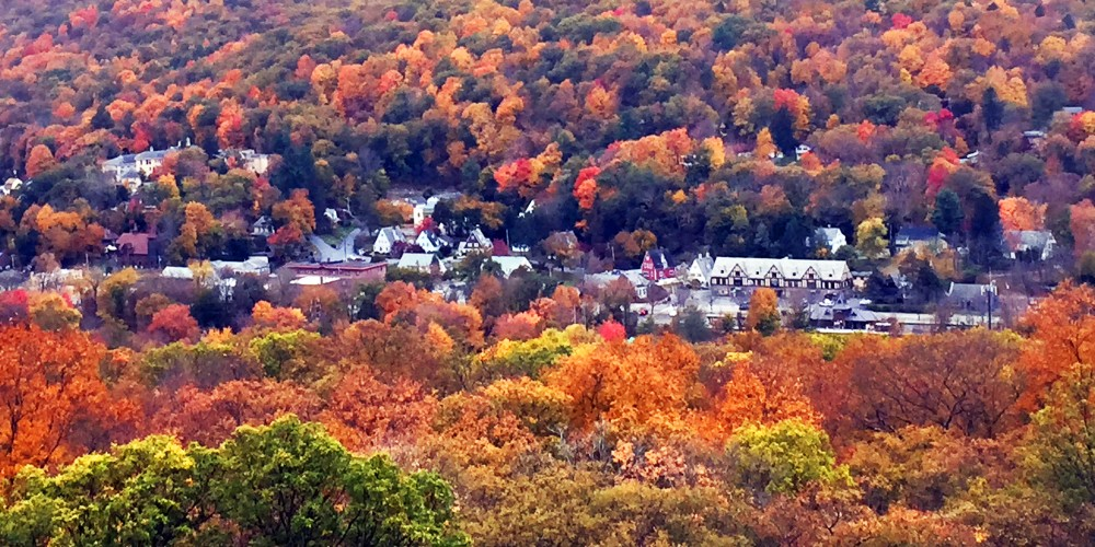 Brightly colored autumn leaves in Tuxedo, New York, seen from Harriman State Park.