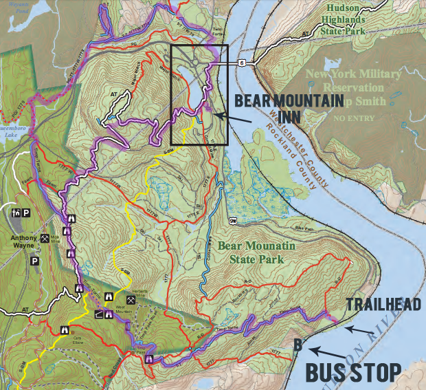 Map of the West Mountain loop, along the Timp-Torne trail, in Harriman State Park.