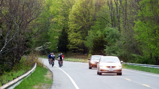 Cyclists share Seven Lakes Drive in Harriman State Park with autos. The shoulder is in most parts ample enough to ride comfortably, but take it slow on the curves of Route 106 East, from Kannawauke Circle.